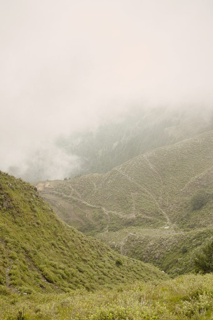 Shivgarh trek trail visible when clouds lift